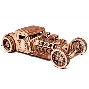 Drevené 3D logické modely starého auta Hot Road