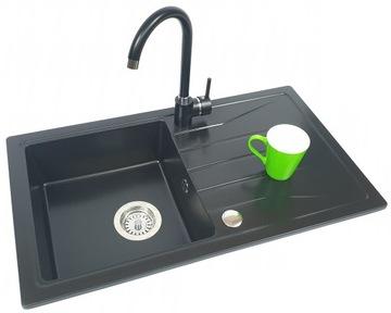 CUBIC GRANITE umývadlo + BATÉRIA + nástenný sifón