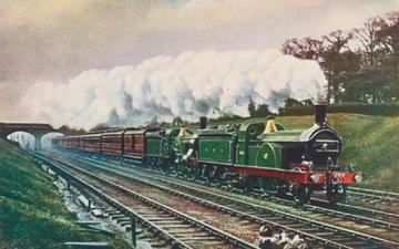 Anglicko / UK Vintage vlak pohľadnice. Lokomotíva krčma.