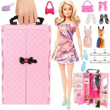Barbie Bábika + skriňa skrine Skladacie príslušenstvo