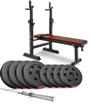 Bitúmenové zaťaženie 39kg s lavičkou, činka