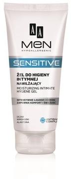 Hydratačný gél AA Men Sensitive na intímnu hygienu.