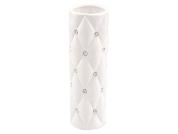 Biela váza prešívané kryštály kamienky glamour