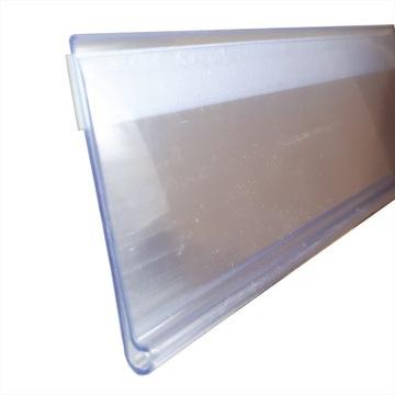 Cenový pás. Transparentné lepené prúžky 1m