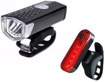 LED sada Zadné predné USB cyklistické svetlo 2 ks