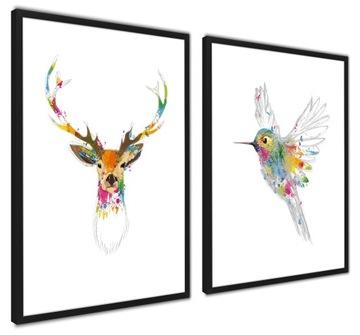 Zarámované plagáty SÚBOR VEĽKÝCH prírodných jeleňov