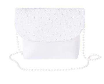 Biela kabelka na prijímanie s kubickými zirkónmi. Diamant
