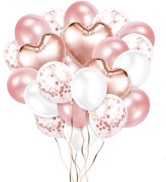 Balóny z konfety Bouquet Rose Gold Hearts - 27ks