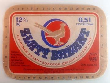 Štítok s pivom Bazant - Zlatý bažant