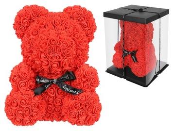 Medvedík s lístkami ruží a červenými kvetmi XXL + darčeková krabička