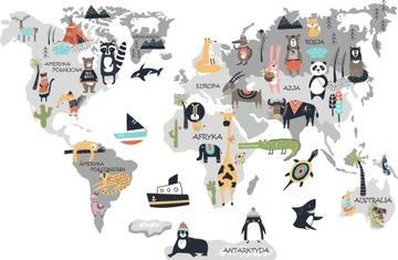 Nálepka Svetová mapa 4 zvieratká pre deti 200cm