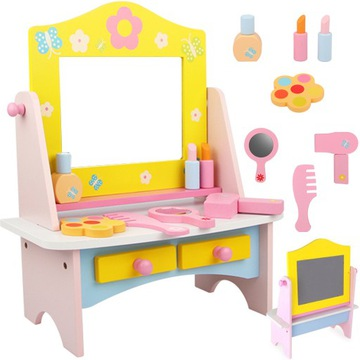 DREVENÝ toaletný stolík pre dievčenskú kozmetiku 614