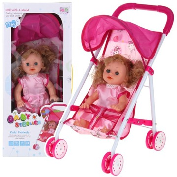 Skladací kočík pre bábiky Doll hovorí mama