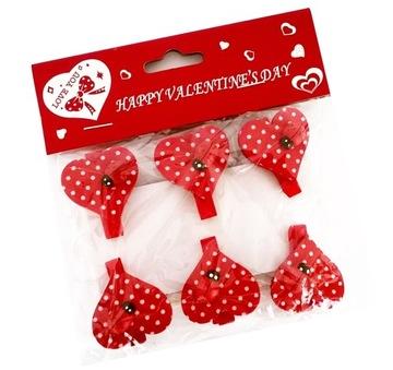 Drevené srdce Clip Paper Clip srdcový Ladybug