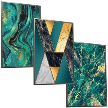 A3X3 Nastaviť rám moderný obraz zlatého mramoru