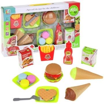 Rýchle občerstvenie Kuchynské hranolky Hamburger Zmrzlina
