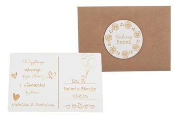 Sviatočná rytá karta s pozdravom obálkou