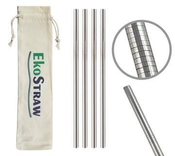Silné strieborné kovové slamky pre smoothie EKOSTRAW