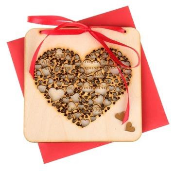 Drevená darčeková karta Gravírovanie Valentína