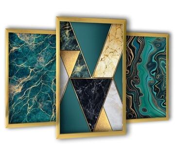 3 obrazy v zlatých rámoch 43x99 tyrkysový mramor