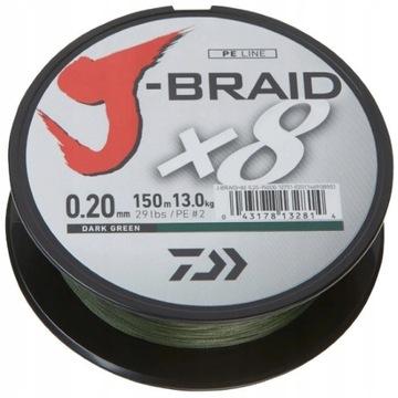 Braid Daiwa J-Braid X8 0.06mm 150m tmavo zelená