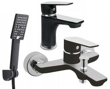 Bath Mixer Set + Black Sprcha Washbasin