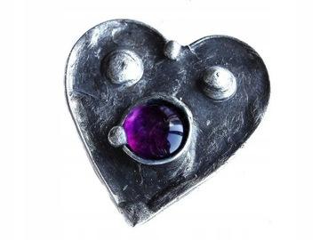 Брошь Сердце Фиолетовое стекло метод Тиффани
