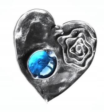 Брошь сердце из бирюзового стекла в стиле тиффани