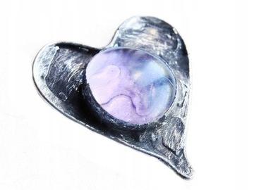 Розовая стеклянная брошь в форме сердца в стиле тиффани