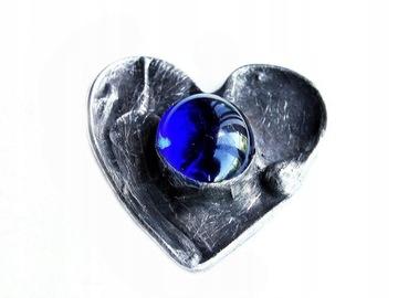 Брошь Темно-синее сердце в технике тиффани