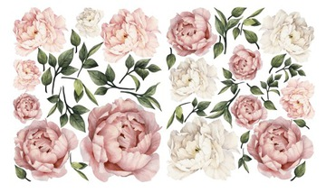 Наклейки на стену цветы пионы 70х120 см