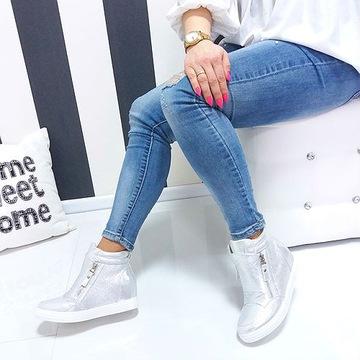 NAJMODNIEJSZE BOTKI SNEAKERSY KOTURNY k850 CZARNE | Sneakers