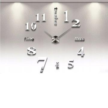Часы настенные, серебро, 3д палочка на стену