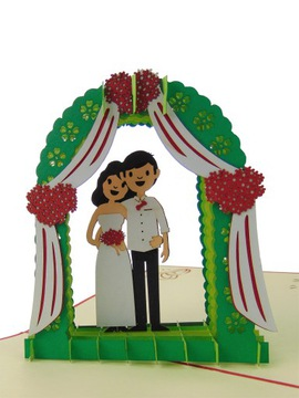Kartka okolicznościowa, młoda para, wesele, ślub