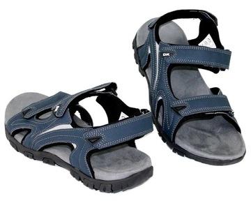 Sportowe męskie sandały granatowe buty płaskie na rzepy Filip