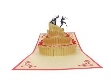 Kartka 3D, tort weselny, wesele, ślub