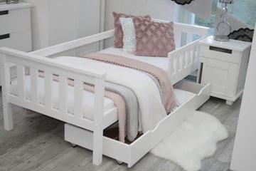 Белая детская кровать ASIA 80x180, перила для матраса