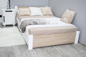 Кровать 3D 140x200 белый + дуб сонома, массивный каркас