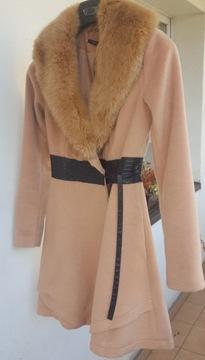 Płaszcz damski New Yorker zimowy jak Zara Promod H&M Mohito Reserved szary elegancki taliowany