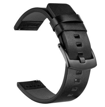 Pasek do zegarka skórzany 22mm czarny + teleskopy