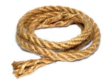 Пеньковая веревка, натуральный джутовый шпагат 8мм, длина 1 метр