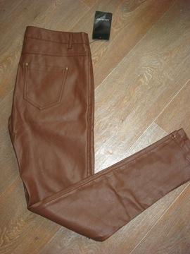 RESERVED -karmelowe spodnie rurki z eko skóry - 38