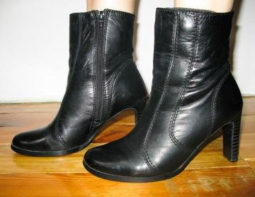 Czarne skórzane buty botki słupki 38 skóra natural