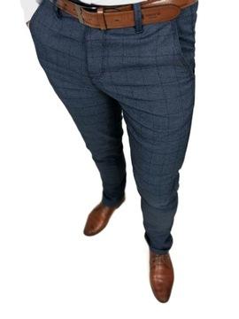 Męskie granatowe eleganckie spodnie w kratę - 33