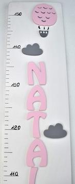 Мера роста BALLOON + CHILD'S NAME розовая пудра