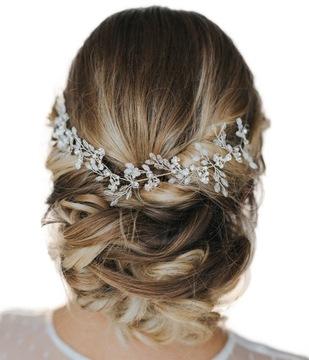 Opaska na druciku diadem do włosów SREBRNA Ślub