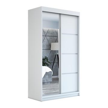 Белый шкаф-купе с зеркалом гардеробная GAP120