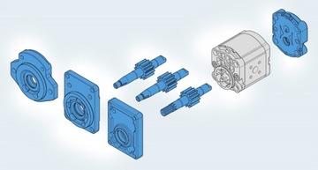 Конфигурация 1,2,3-секционного шестеренчатого насоса Bosch Rexroth.