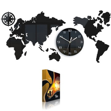 Большие настенные часы Map 80x40 Modern 3d Silent