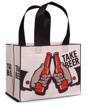 Подарочный пакет для пива 6ПАК с принтом Fabor